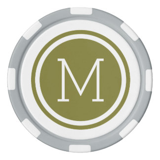 Olive Green Monogram Personalized Poker Chips