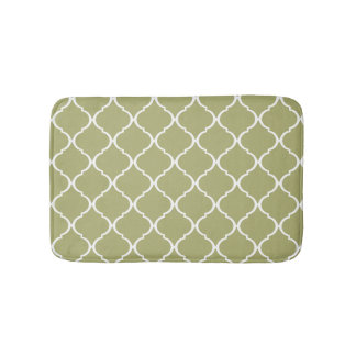 Olive Green Moroccan Lattice Pattern Bathroom Mat