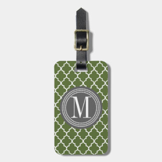 Olive Green Moroccan Lattice Personalized Tags For Bags