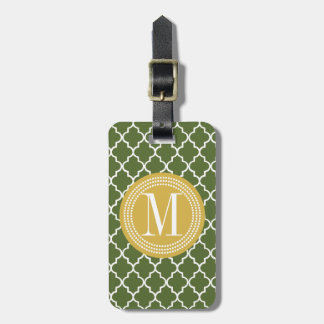 Olive Green Moroccan Lattice Personalized Tags For Luggage