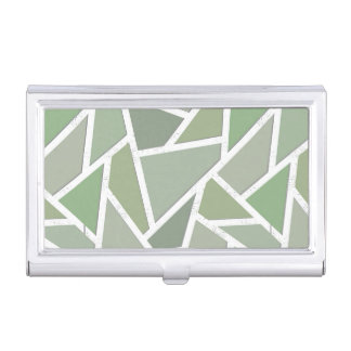 Olive green mosaic pattern business card case