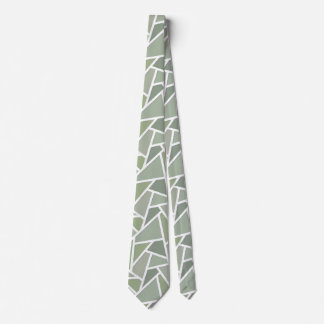 Olive green mosaic pattern neck tie