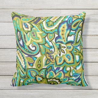 Olive Green Mustard Yellow Turquoise Blue Paisley Outdoor Pillow