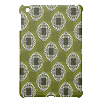 Olive Green Nouveau Checked Pattern iPad Mini Cases