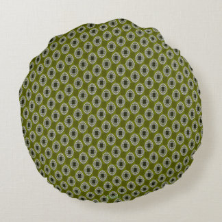 Olive Green Nouveau Checked Pattern Round Pillow