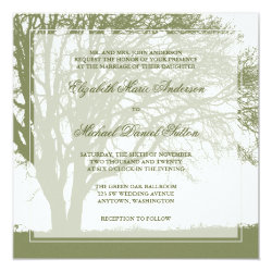Olive Green Oak Tree Fall Wedding 5.25x5.25 Square Paper Invitation Card