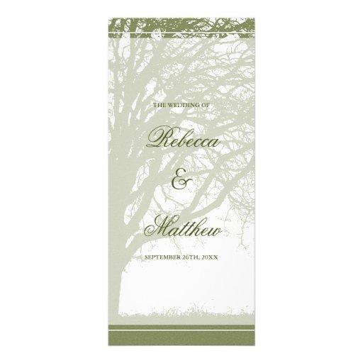 Olive Green Oak Tree Fall Wedding Program Full Color Rack Card