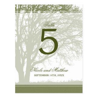 Olive Green Oak Tree Fall Wedding Table Number Postcard