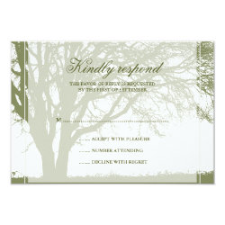 Olive Green Oak Winter Wedding Response Card 3.5