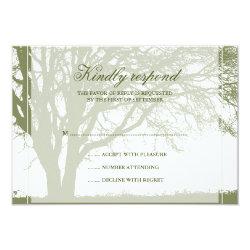 Olive Green Oak Winter Wedding Response Card 3.5