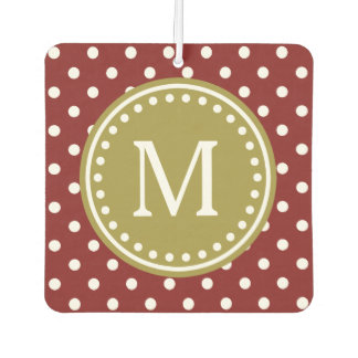 Olive Green on Russet Red and White Polka Dot