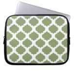 Olive Green Ornate Patterns Laptop Computer Sleeve