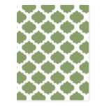 Olive Green Ornate Patterns Post Cards
