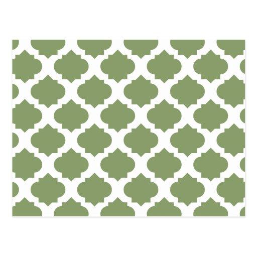 Olive Green Ornate Patterns Postcard