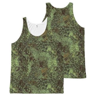 Olive Green Painterly Abstract All Over T-Shirt