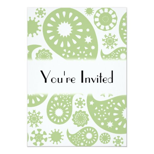 Olive Green Paisley Pattern. 5x7 Paper Invitation Card
