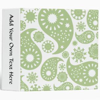 Olive Green Paisley Pattern. Binder