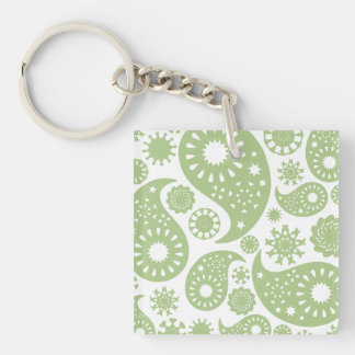 Olive Green Paisley Pattern Key Chain