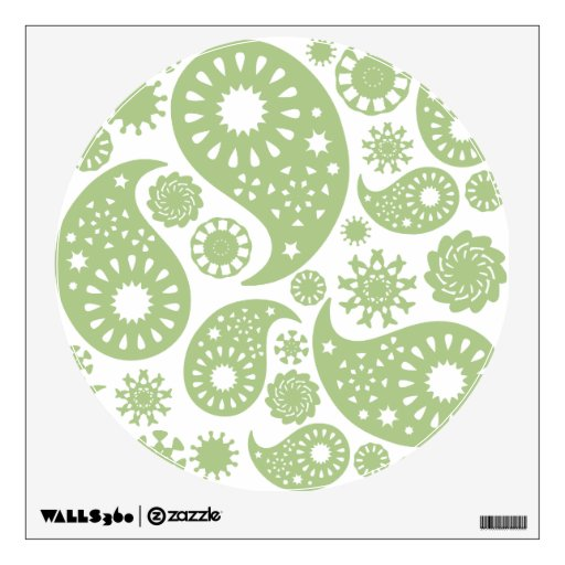 Olive Green Paisley Pattern. Wall Decal