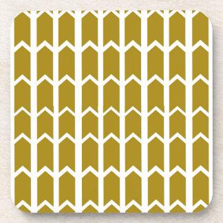 Olive Green Panel Fence Beverage Coaster