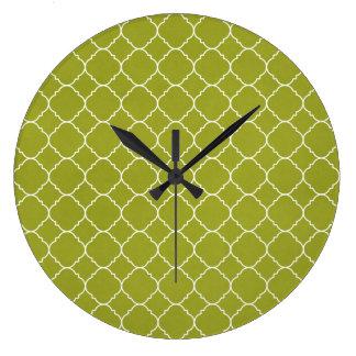 Olive green pattern wallclocks