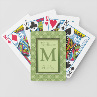 Olive Green Pattern Monogrammed Playing Cards