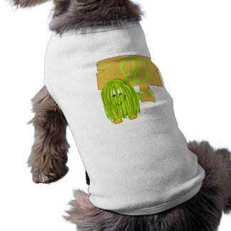Olive Green Peace Person Doggie Tshirt