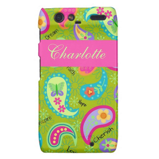 Olive Green Pink Modern Paisley Colorful Graphic Droid RAZR Cover
