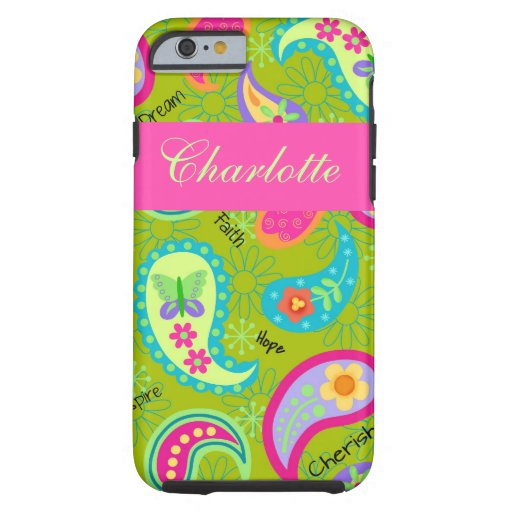 Olive Green Pink Modern Paisley Name Personalized iPhone 6 Case