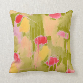 Olive Green Pink Yellow Abstract Art Throw Pillow