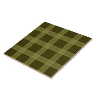 Olive Green Plaid Pattern Ceramic Tile
