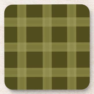 Olive Green Plaid Pattern Coasters