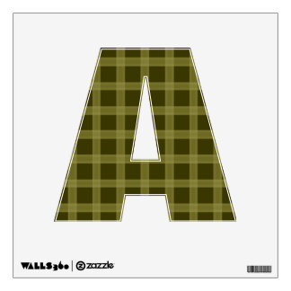 Olive Green Plaid Pattern  Letter A Wall Skin