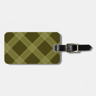 Olive Green Plaid Pattern  Luggage Tag
