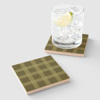 Olive Green Plaid Pattern Sandstone Coaster