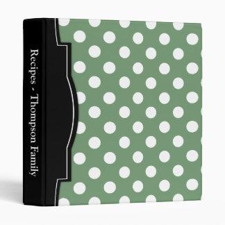 Olive Green Polka Dot personalized Recipe Binder