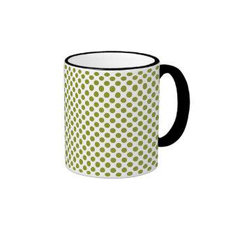 Olive green polka dots coffee mug