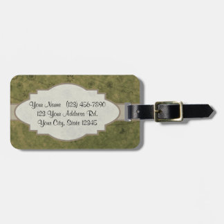 Olive Green Retro Floral Abstract Nameplate Luggage Tag