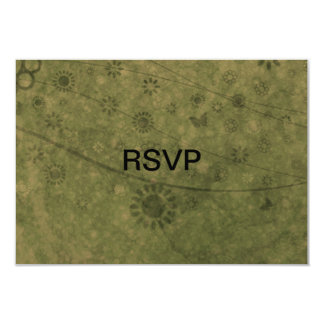 """Olive Green Retro Flowers and Butterflies Abstract 3.5"""" X 5"""" Invitation Card"""