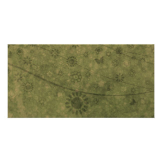 Olive Green Retro Flowers and Butterflies Abstract Photo Cards