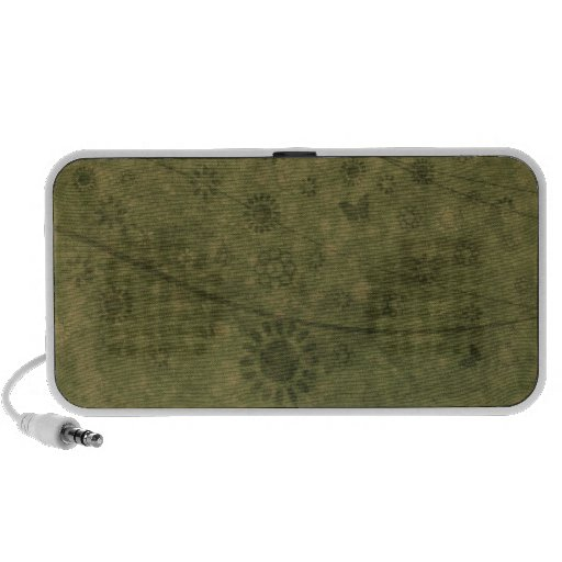 Olive Green Retro Flowers and Butterflies Abstract Mp3 Speakers
