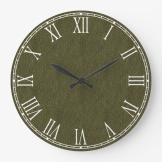 Olive Green Retro Grunge Leather Texture Large Clock