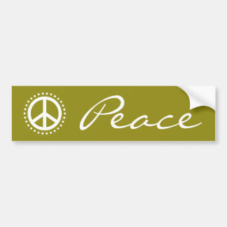 Olive Green Retro Polka Dot Peace Sign Symbol Bumper Sticker