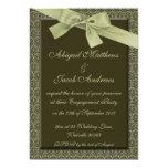 "Olive Green Ribbon Engagement Party Invitation 5"" X 7"" Invitation Card"