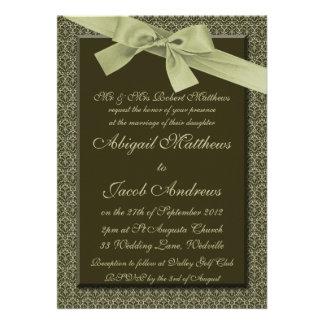 Olive Green Ribbon - Wedding Invitation