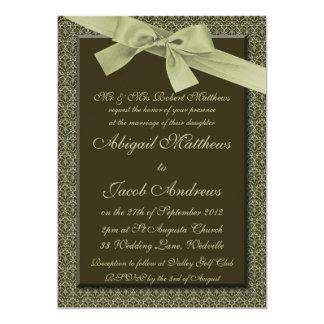 "Olive Green Ribbon - Wedding Invitation 5"" X 7"" Invitation Card"