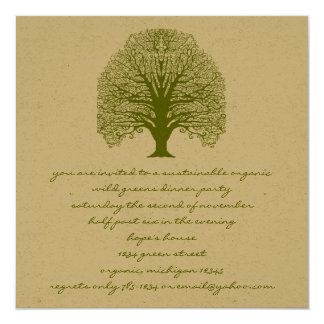 Olive Green Rustic and Whimsical Swirl Tree Card