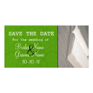 Olive Green Save The Date Photo Cards