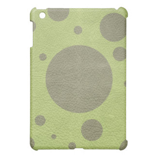 Olive Green Scattered Spots on Lime Green Leather iPad Mini Cover