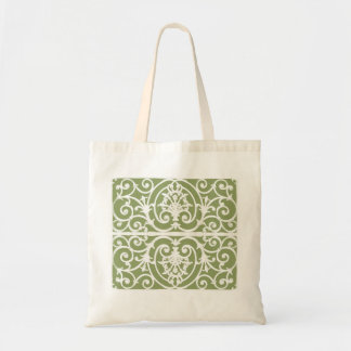 Olive green scrollwork pattern tote bag